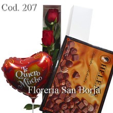 Caja Blanca con 2 rosas + Bombones Helena 210g + Globo mediano