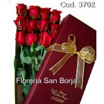 Caja Premium Especial con 12 rosas