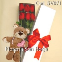 Promo SB: Caja 6 rosas + oso peluche con capucha y corazon