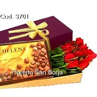 Caja Premium Especial 12 rosas + Bombones Helena 210g