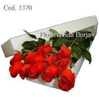Caja Blanca 12 rosas Premium