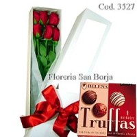Caja Blanca 6 rosas + Truffas de Chocolate