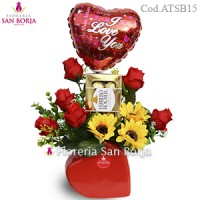 Sunflowers and Roses - Flores Artificiales + globo y bombones