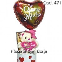 Peluche en lata, Bombones 210g y globo grande