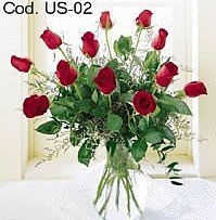 Flower arrangement with 12 roses