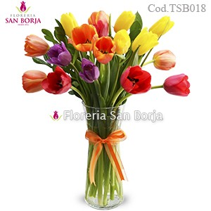 Arrangement with 18 tulips