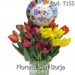 Amberes Model 20 tulips + medium ballon