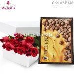White box with 12 roses + Bombons Helena 210g