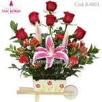 Carretilla Floral - Red Roses