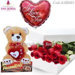 Combo SB: 12 boxed roses + small teddy  + medium balloon + Chocolate Peccanroll