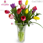 Arrangement with 12 Tulips in glass
