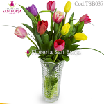 10 tulips in glass vase