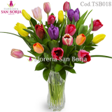 18 tulips in Glass Vase