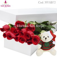 White box with 12 roses + Christmas doll