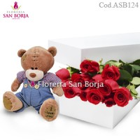 White Box 12 roses + Small Teddy Bear
