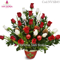 Christmas Red and White Roses - 24 rosas
