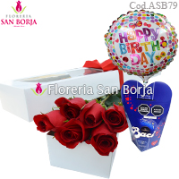 White Box 12 Roses + Cowboy Teddy Bear