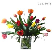 Arrangement with 15 tulips