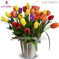 Arrangement with 30 Tulips in Cooler