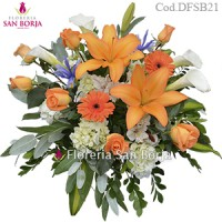 Funeral  Spray D21, 7 roses