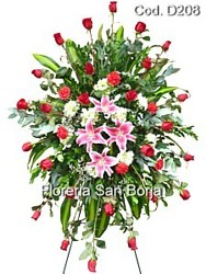sympathy standing funeral spray, delivery of sympathy flowers to Peru, easel standing spray Lima