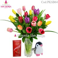 Pack: Florero 18 tulipanes + mini pingüino + chocolate lindt