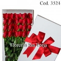 White Box with 24 roses