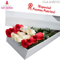 White box with 12 roses - red and white