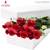 White Box with 12 roses