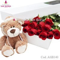 box with 2 roses to Lima Peru, chocolates and balloon Lima