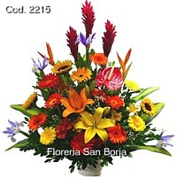flower shops Peru, delivery service to Peru, flower arrangement with colorful mixed flowers to Peru