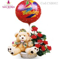 roses, teddy bear and balloon gifts for delivery to Peru, birthday flowers to Peru