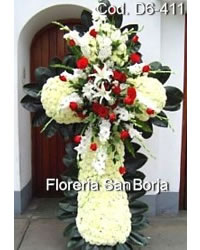 Funeral flowers to Lima, Special sympathy floral cross Lima Peru, funeral crosses Peru, delivery of symapthy crosses Peru