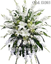 funeral easel spray to Tacna Peru, funeral flowers to Tacna, delivery of sympathy flowers to Tacna, flowers for a wake Tacna