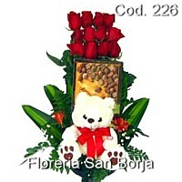 12 roses, plush teddy bear, chocolate bombons for delivery to Peru