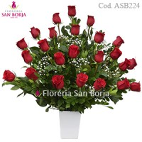 flower arrangement with 24 long stem premium roses for delivery to Peru, nice red roses for romance Peru, roses for your love Lima Peru