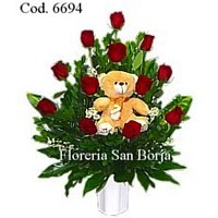 arrangement with 12 roses and teddy bear Lima