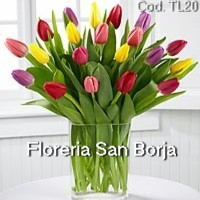 elegant flower arrangement with lovely tulips for delivery to Lima Peru