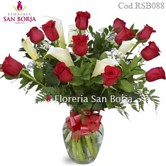 premium flowers to Lima, red roses and cala stems in a beautiful glass vase, send flowers to Lima Peru, premium arrangements to Lima