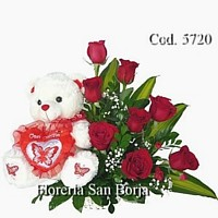 Basket with 8 roses, teddy bear and balloon