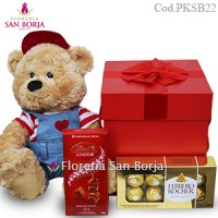 medium plush bear, chocolate bombons Peru, send gifts to Peru