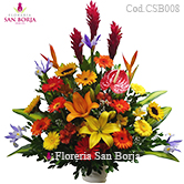 shop flowers to Lima, multicolor roses in a beautiful ceramic vase, send flowers to Peru, colorful mixed flower arrangement to Lima