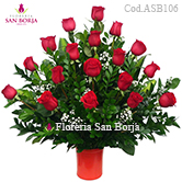 Send Roses to Peru, big flower arrangement with 18 long stem roses to Lima, premium floral bouquet to Lima