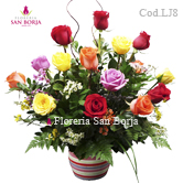 Roses to Peru, flower arrangement with 12 multicolor roses to Lima