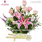 exclusive flower bouquet to Lima, arrangement with pink roses to Lima Peru, best prices for flowers Peru