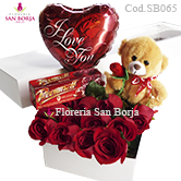 box with roses, chocolate, balloon, teddy bear to Peru, promotion with roses to Peru, flower sales to Lima Peru
