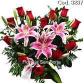 send roses and flowers to Peru, wonderful, beautiful flowers to Lima, heart of roses Lima, heart shaped flower arrangement with roses to Lima