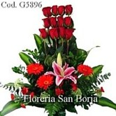 flowers to Lima, elegant flower arrangement with a dozen roses and greens for delivery to Peru, roses to Peru