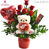 flowers to Peru, 6 roses, chocolate bombons, balloons, send flowers to Lima Peru, excellent combination of roses and gifts to Lima