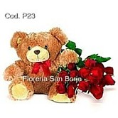 send roses and to Peru, wonderful combination of boxed roses and plush bear, premium flowers to Peru, premium floral gifts to Lima Peru